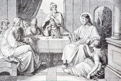 Le dîner dans la Chambre de la lithographie de Simon Pharisee images libres de droits