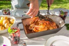 Le dîner sain avec des pommes de terre et le poulet ont servi dans le jardin Image libre de droits