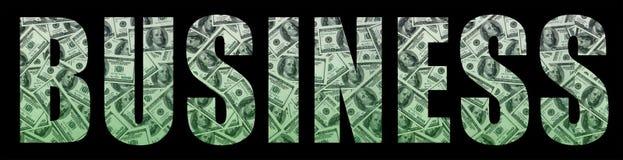 Le ` d'affaires de ` d'inscription sur un fond noir Un modèle de l'ensemble de billets d'un dollar dispersés comme characte rempl Photographie stock libre de droits