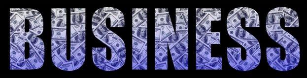 Le ` d'affaires de ` d'inscription sur un fond noir Un modèle de l'ensemble de billets d'un dollar dispersés comme characte rempl Photo libre de droits