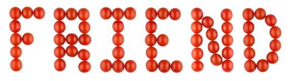 Le ` d'ami de ` de mot fait à partir des tomates rouges de chilie Photographie stock