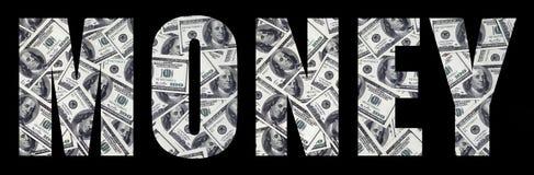 Le ` d'argent de ` d'inscription sur un fond noir Un modèle de l'ensemble de billets d'un dollar dispersés comme characte remplis Images libres de droits