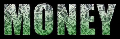 Le ` d'argent de ` d'inscription sur un fond noir Un modèle de l'ensemble de billets d'un dollar dispersés comme characte remplis Photo libre de droits