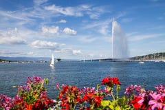 Le d'Eau de jet, Genève, Suisse Image stock