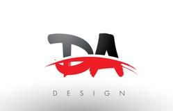 Le DA D une brosse Logo Letters avec l'avant de brosse de bruissement de rouge et de noir illustration libre de droits