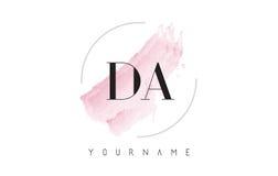 Le DA D une lettre Logo Design d'aquarelle avec le modèle circulaire de brosse Image stock