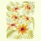 Le dahlia est une fleur et un bourgeon Composition décorative des éléments d'usine modèle de fond - motifs floraux wallpaper Util Images libres de droits