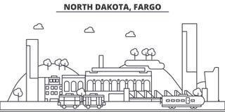 Le Dakota du Nord, ligne illustration d'architecture de Fargo d'horizon Paysage urbain linéaire de vecteur avec les points de rep Image libre de droits