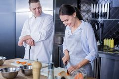 Le damen som förbättrar hennes expertis i matlagning royaltyfri fotografi