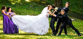 Le damigelle d'onore trascinano la sposa a se stessi mentre prova a baciare un g Immagini Stock Libere da Diritti