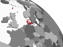 Le Danemark avec le drapeau sur le globe illustration de vecteur