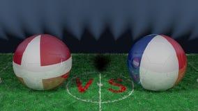 Le Danemark contre des Frances Coupe du monde 2018 de la FIFA Image 3D originale Photos libres de droits