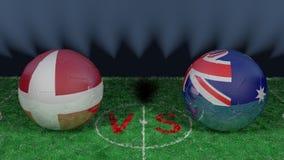 Le Danemark contre l'Australie Coupe du monde 2018 de la FIFA Image 3D originale Photo libre de droits