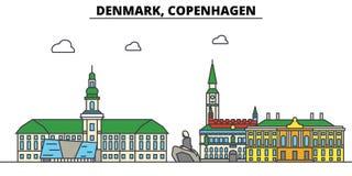 Le Danemark, Copenhague Architecture d'horizon de ville Editable illustration de vecteur