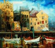 Le Danemark, Copenhague, illustration, peignant par l'huile sur la toile Image stock