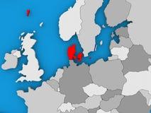 Le Danemark en rouge sur le globe Image stock
