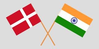 Le Danemark et l'Inde Drapeaux danois et indiens Couleurs officielles Proportion correcte Vecteur illustration libre de droits