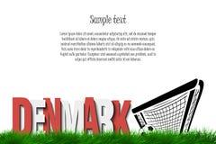 Le Danemark et un ballon de football à la porte Photographie stock libre de droits