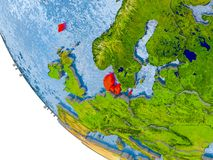 Le Danemark sur le globe Image libre de droits