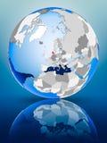 Le Danemark sur le globe illustration libre de droits