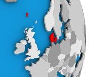 Le Danemark sur le globe Photographie stock libre de droits