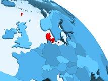 Le Danemark sur le globe bleu illustration libre de droits