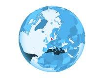 Le Danemark sur le globe bleu d'isolement Images libres de droits