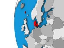 Le Danemark sur le globe 3D illustration stock