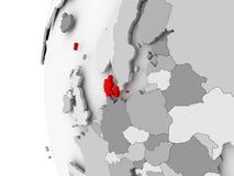 Le Danemark sur le globe gris Photos libres de droits
