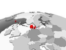 Le Danemark sur le globe gris Images libres de droits