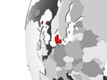 Le Danemark sur le globe gris illustration de vecteur