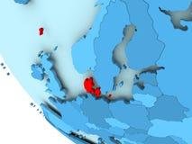 Le Danemark sur le globe politique bleu Photo libre de droits