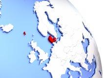 Le Danemark sur le globe élégant Image stock