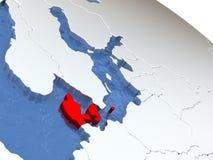 Le Danemark sur le globe Images libres de droits