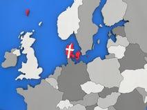 Le Danemark sur le globe Images stock