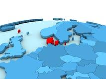 Le Danemark sur le globe bleu Image libre de droits
