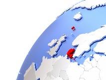Le Danemark sur le globe brillant moderne Images stock