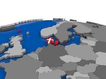 Le Danemark sur le globe 3D Image libre de droits
