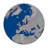Le Danemark sur le globe politique Image libre de droits