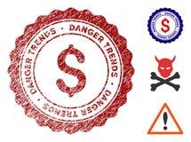 Le danger du dollar tend le joint avec l'effet de la poussière illustration stock