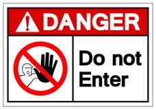 Le danger n'écrivent pas le signe de symbole, l'illustration de vecteur, isolat sur le label blanc de fond EPS10 illustration libre de droits