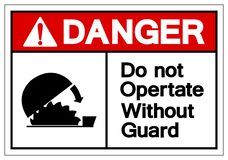 Le danger ne fonctionnent pas sans garde Symbol Sign, l'illustration de vecteur, isolat sur le label blanc de fond EPS10 illustration stock