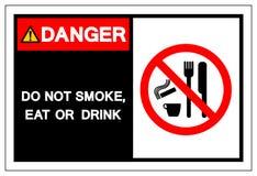 Le danger ne fument pas, ne mangent pas ou ne boivent pas le signe de symbole, illustration de vecteur, d'isolement sur le label  illustration de vecteur