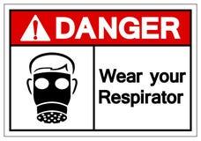 Le danger portent votre signe de symbole de respirateur, l'illustration de vecteur, isolat sur le label blanc de fond EPS10 illustration de vecteur