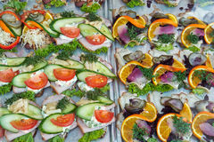 Le danois de Smoerrebroed ouvert a fait face à des sandwichs Image stock