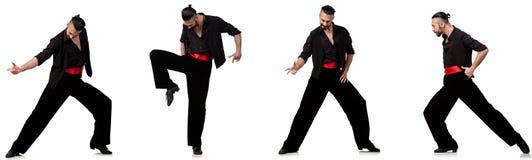 Le danseur espagnol dans diverses poses sur le blanc Images libres de droits