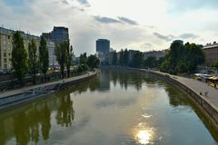 Le Danube à Vienne, Autriche Image stock
