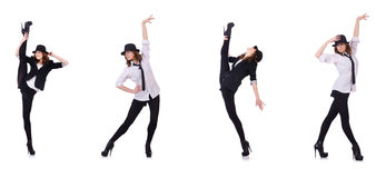 Le danze moderne di dancing del ballerino della donna Immagine Stock Libera da Diritti