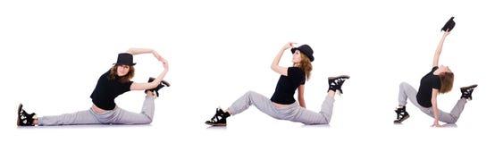 Le danze moderne di dancing del ballerino della donna Fotografie Stock