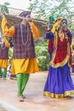 Le danze popolari di Uttarakhand con musica folk legano compreso le forme come Chancheri, ballo di ballo di Chhapeli ECR, Chennai Immagine Stock